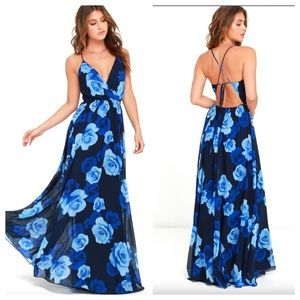 Lulu's Only In Dreams Navy Blue Floral Maxi Dress.